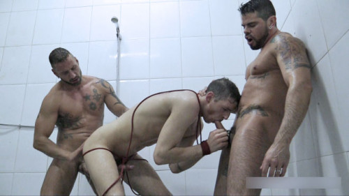 Three chaps in the scene Dominated In The Shower 2 (720p)