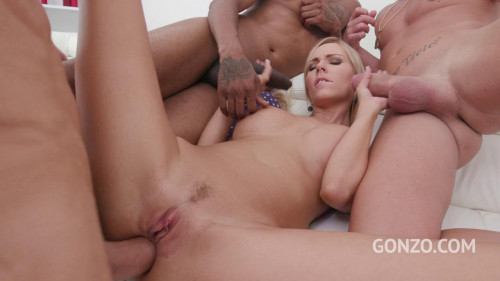 Florane Russell 3on1 fuck session with her first triple penetration Interracial