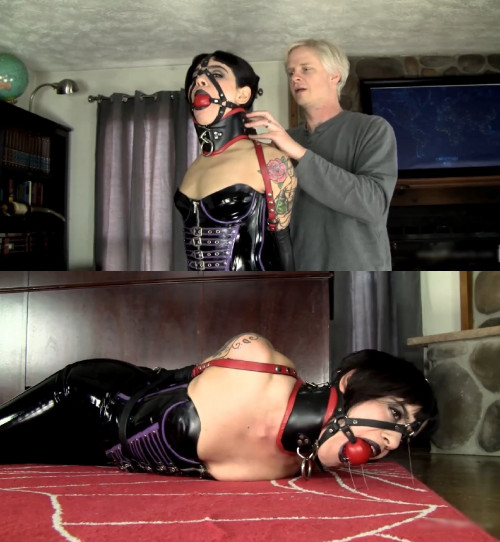 Super bondage, domination and hogtie for young girl BDSM Latex