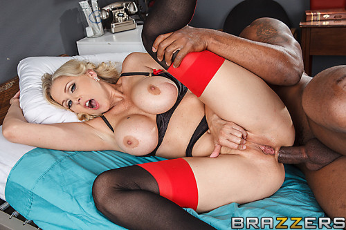 Busty Blonde Lady Gobbles Down His Dick