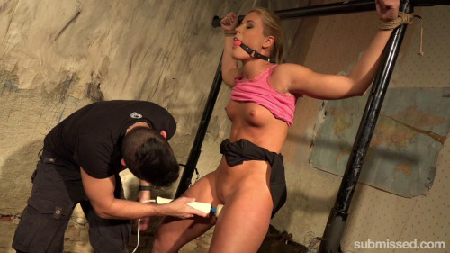 Hot Blonde Sandy Gets A Vibrator Training In The Basement BDSM