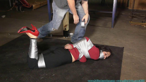 HOM, Panty Gag, Tape Breast Bondage, and a Tight Hogtaping For Summer! - Part 1