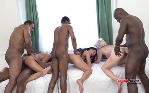 Three kinky milfs in interracial orgy with many big black dicks Interracial Sex