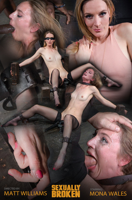 Mona Wales - Stunningly sexy slut blindfolded and throat trained by 3 cocks (2016)