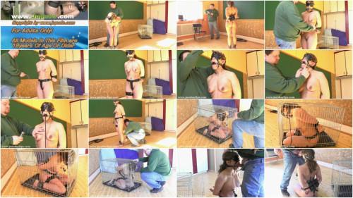 Caged Blowjob Slave Girl BDSM