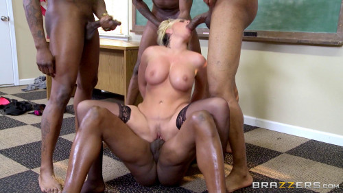 Blond-Haired Milf Gives Them All A Sloppy Blowjob Interracial Sex