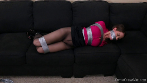 Too Much Tape To Escape - Hot Brunette Struggling with tape and gag!