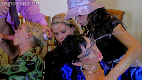 Dolled Up Sexy Ladies Love Getting Pounded And Their Satin Piss On