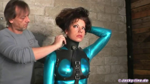 Tight bondage and strappado for beautiful model BDSM Latex