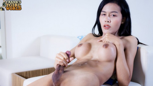 Sally strokes and cums Transsexual