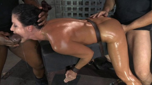 Fit MILF India Summer shackled down and used hard by two cocks at once BDSM