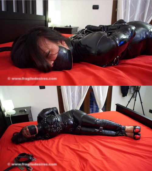 Tight bondage, domination and hogtie for sexy model BDSM Latex