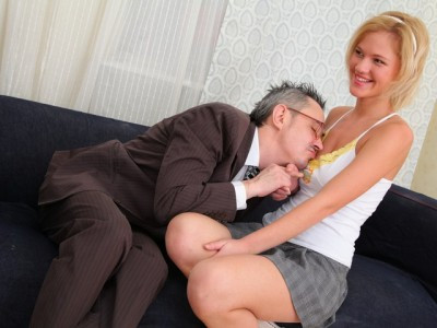 Lovely blonde babe Shelly is spending some quality tutorial time with her teacher Old and Young