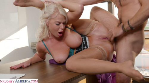 Busty London River Gets Bent Over Desk & Fucked By Intern Blondes