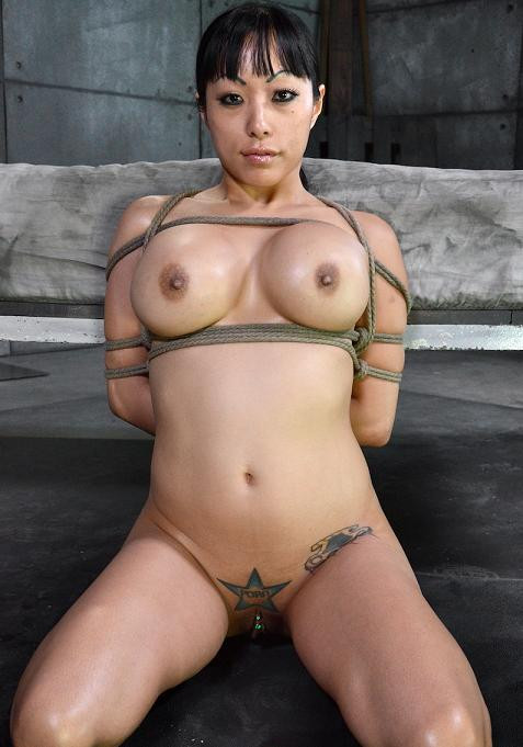 Sexy Big titted Asain, is bound, brutally face fucked made to squirt