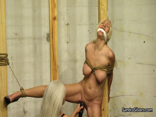 Sandra Silvers & Amanda Foxx - Open Leg Pole Tie for Naked, Blond Sex Slave