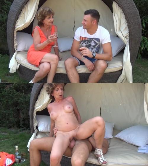 Horny granny invites young guy