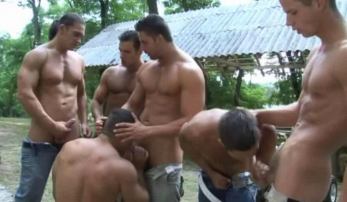 Rough Muscle Riders In Orgy