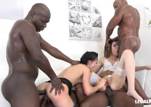 White Sluts Gangbanged & DPed By Big Black Dicks