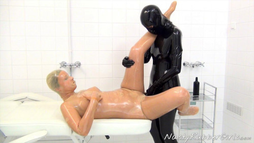 Kinky Rubber Clinic Strap-On, Condom Catsuit Part Two