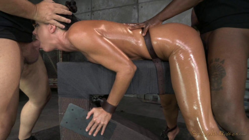 Summer shackled down and used hard by two cocks at once, massive orgasms!!