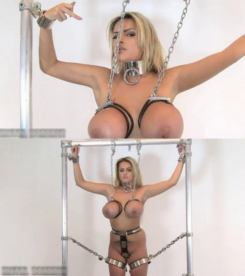Super bondage and torture for hot blonde with very big tits