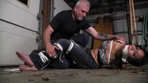 Monica Jade-Run away girl bound and gagged in an abandoned barn