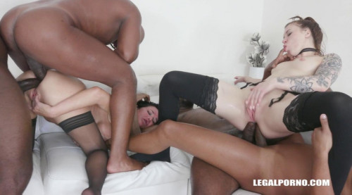 Anal queens gangbanged by crazy black cocks with double anal Interracial Sex