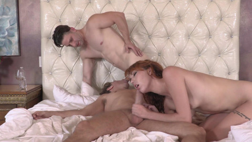 Red Haired Emily Blacc Takes Turns Sucking His Cock with Another Man