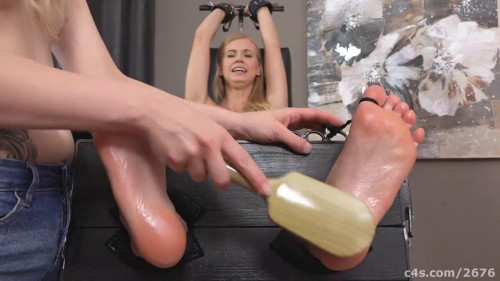Ticklish blonde in socks - Flatchested blonde gets tickled like crazy!