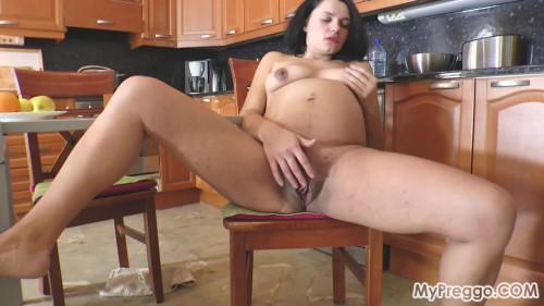Bored of TV, Nina Entertains Herself by Masturbating Pregnant Sex