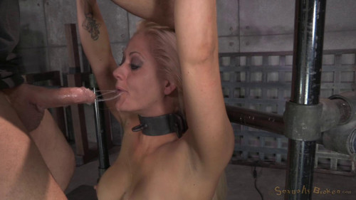 Brutal deepthroat and pussy pounding while restrained!