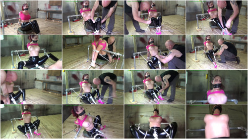 Tight tying, predicament and torment for sexy hotty in latex