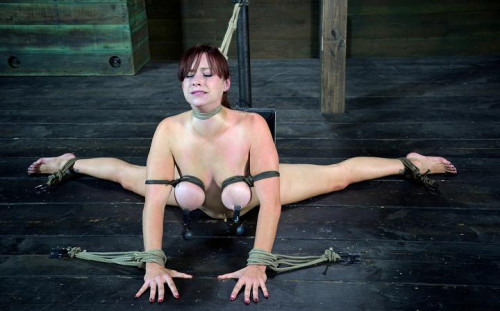 Cute girl with natural tits bound in the splits