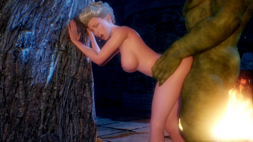 Green monster slammed me against a tree at night [2015,Big Ass,Monster,Animation]