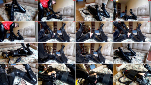 Bondage, hogtie and torture for horny girl in latex part 2 Full HD