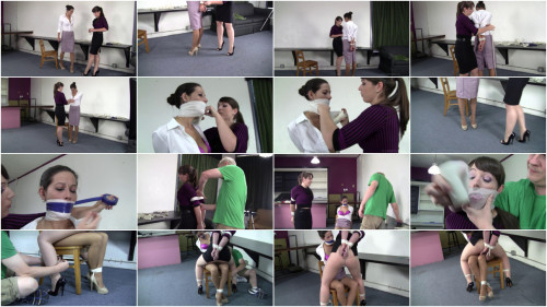 Summer Peters and Elizabeth Andrews - Secretary Straddled Chair Tied