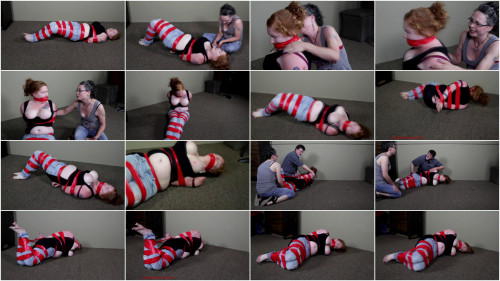 Tape Tied, Tits Out-Put Her Into A Tap Hogtie