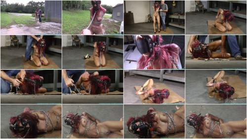 Hard bondage, domination and hogtie for naked slave girl HD 1080