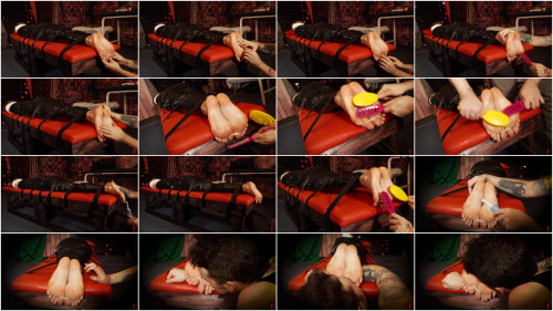 Bdsm Most Popular Foot tickling with oil and hairbrush in plastic wrap