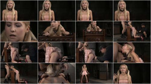 Tiny blonde Odette Delacroix belt bound brutal deepthroat squirting orgasms! (2015)
