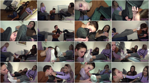 Nicole and Selena Hard day for a feminized male gal Dusty boots Part one