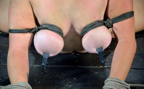 Cute girl wiht HUGE natural tits, bound in the splits
