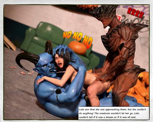 Lida's Halloween [monsters,threesome,3D Porn Comic]
