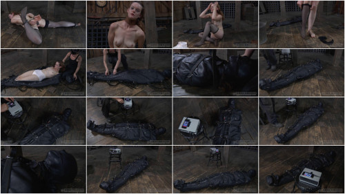 Bondage, hog tie, punishment and predicament for slutty angel