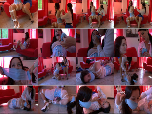 Charlotte Vale hogtied and gagged with her own satin panties