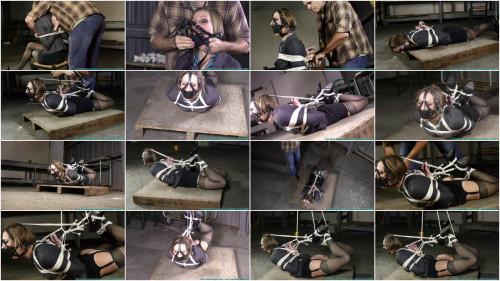 IR Hogtied in Blazer, Skirt, Garter, Stockings, and Heels