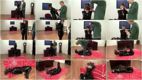 Elizabeth Andrews - Ballet Boot Training in Her Latex Catsuit