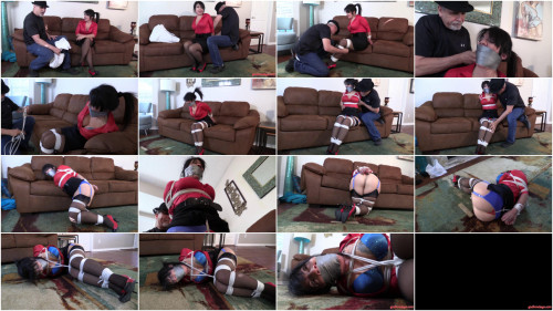 Gigi Lyn-Busy Body MILF neighbor kept bound gagged and tucked away