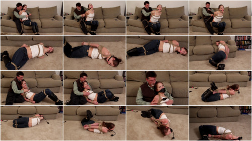 He has her tightly bound and silenced with a fat ball gag